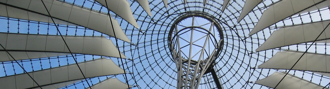 Hot-dip galvanized steel builds the main construction of the roof at Sony Center in Berlin.